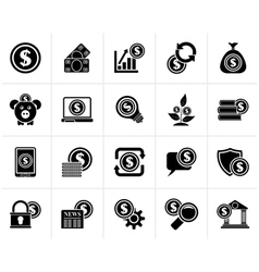 Black business money and finance icons vector
