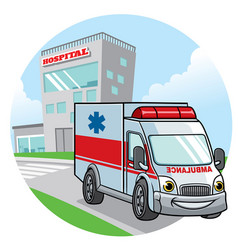 Cartoon ambulance car vector