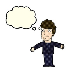 cartoon confused man with thought bubble vector image vector image