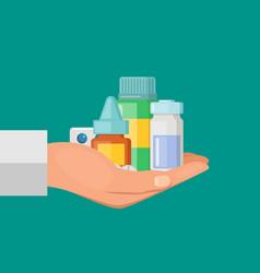 cartoon hand pile of medicines vector image vector image