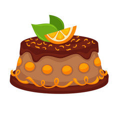 chocolate cake torte with orange topping vector image vector image