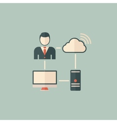 Cloud Computing Flat Icon vector image