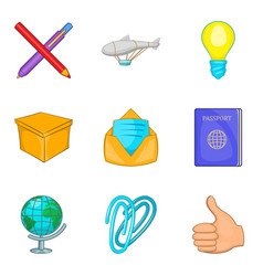 Direct mail icons set cartoon style vector