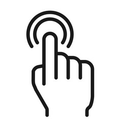 Double tap line icon touch and hand gestures vector