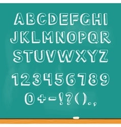 Drawing alphabet lettering on chalk blackboard vector