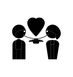 Flat icon in black and white style man and woman vector