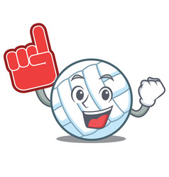 Foam finger volley ball character cartoon vector