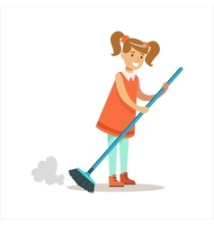 Grl cleanning floor off dust smiling cartoon kid vector