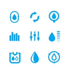humidity water control icons set vector image vector image