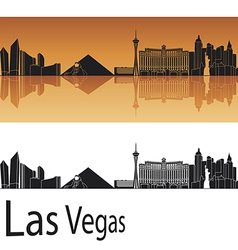 Las Vegas skyline in orange background vector image