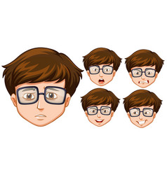 Man with five different facial expressions vector