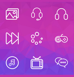 Media outline icons set collection of gallery vector