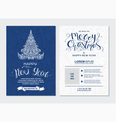 Merry christmas and happy new year party placard vector