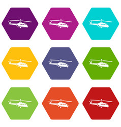 Military helicopter icon set color hexahedron vector
