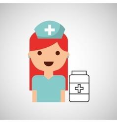 nurse cartoon bottle medication capsule design vector image