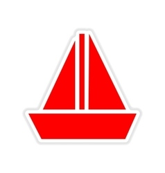 Paper sticker on white background sailing ship vector