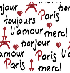 Seamless pattern with handwritten french words vector