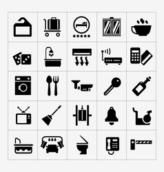 Set icons of hotel hostel and rent apartments vector image vector image