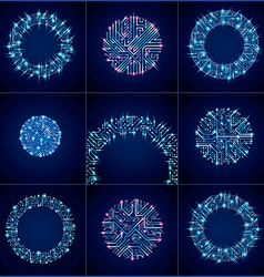 Set of abstract luminescent technology elements vector image