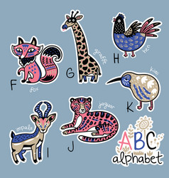Set of cute patch badges with animals alphabet f - vector
