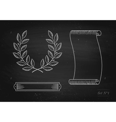 Set of old vintage ribbon banner laurel wreath in vector