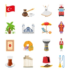 Turkey flat colored icons set vector