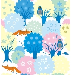 Winter forest-garden vector image