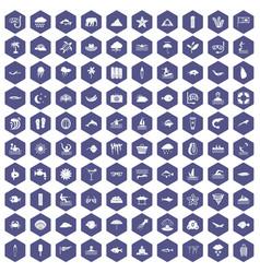 100 diving icons hexagon purple vector