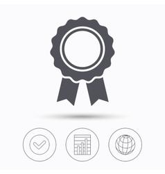 Medal icon winner award emblem sign vector