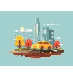 City taxi design flat vector