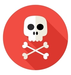Skull with bones circle icon vector