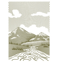 Woodcut mountain stream vector