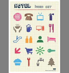Hotel and service icons set drawn by color pencils vector image