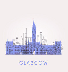 Glasgow skyline with landmarks vector