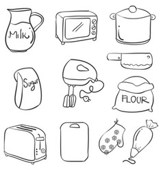 Doodle of kitchen set collection style vector