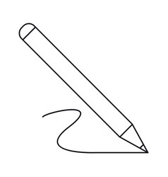 Pencil write wooden tool office outline vector
