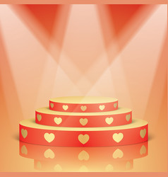 Red scene with golden hearts and lighting vector