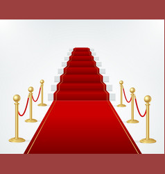Red event carpet stair and gold rope barrier vector