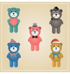 Winter hipster teddy bear vector