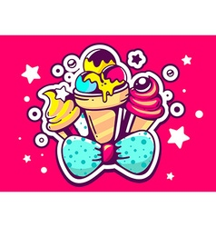 Set yellow and pink ice creams with blue vector