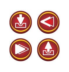 Red glossy set button vector