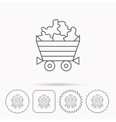 Minerals icon wheelbarrow with jewel gemstones vector