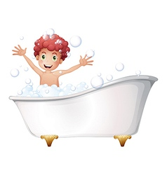 A bathtub with a young boy playing vector image vector image