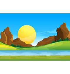A view of the river under the blue sky with a sun vector