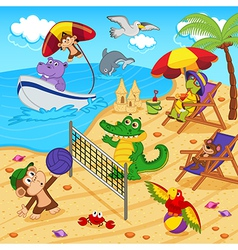 Animals resting on beach vector
