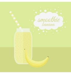 Banana smoothie in jar on a table vector