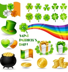Collection of Saint Patricks Day symbols vector image vector image