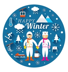 Couple in snowsuit with winter icons label vector
