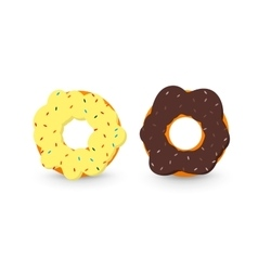 Creamy and chocolate donuts vector