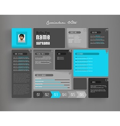 Creative curriculum vitae template with tiles vector